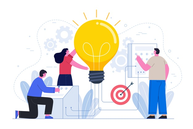 two men and one woman are working on a business idea. A woman holding a light bulb that represents the creation of the company. The men on the left and right of the woman write down the idea